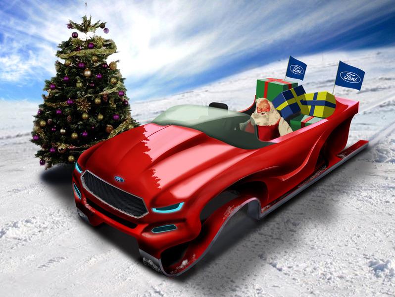 В Ford намерены пересадить Санта Клауса на эко-сани