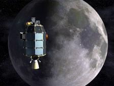 Зонд LADEE над Луной в представлении художника  ((иллюстрация NASA). )