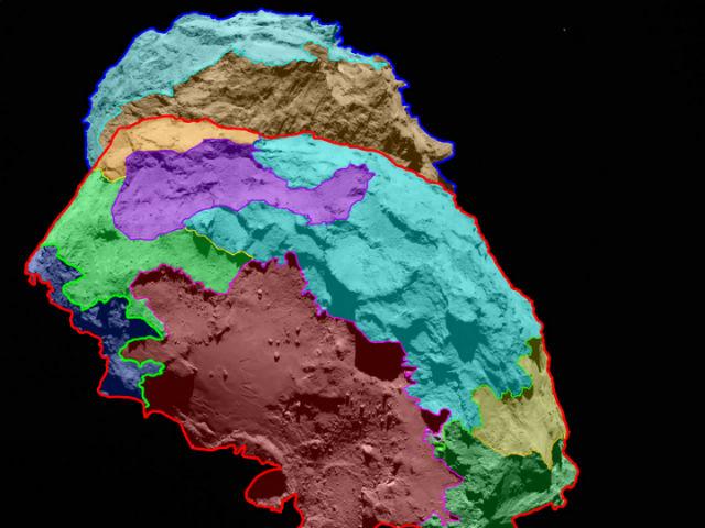 На схеме обозначены области поверхности различной морфологии (иллюстрация ESA/Rosetta/MPS for OSIRIS Team MPS/UPD/LAM/IAA/SSO/INTA/UPM/DASP/IDA).