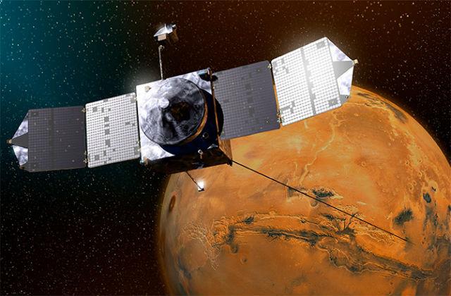 Аппарат MAVEN в представлении художника (иллюстрация NASA).