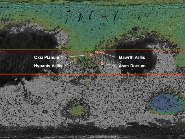 """Четыре варианта мест для посадки марсохода """"ЭкзоМарс"""". На карте Марса отмечены слишком высокие для посадки области (серые), места с большим количеством пыли (чёрные) и районы пригодные для посадки (зелёные) (иллюстрация ESA/Roscosmos/LSSWG)."""