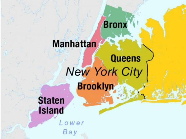 """Нью-Йорк представляет собой настоящий """"винегрет"""" из районов с различными очертаниями (фото Wikimedia Commons)."""