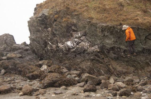 Прожилки арагонита в базальтовых породах косвенно свидетельствуют о том, что эта локация когда-то была домом для микроорганизмов (фото Philippa Stoddard).