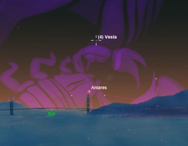 Диаграмма небес, которая показывает местоположение Весты в юго-западном вечернем небе над ярко-оранжевой звездой Антарес в созвездии Скорпиона (иллюстрация A. Fazekas/Sky Safari).