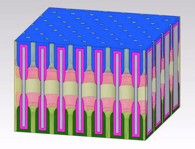 Миллиарды нанопор могут уместиться на площади почтовой марки (иллюстрация NEES, DOE Energy Frontier Research Center).