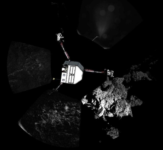 Панорама, запечатлённая бортовой камерой (иллюстрация ESA/Rosetta/Philae/CIVA).