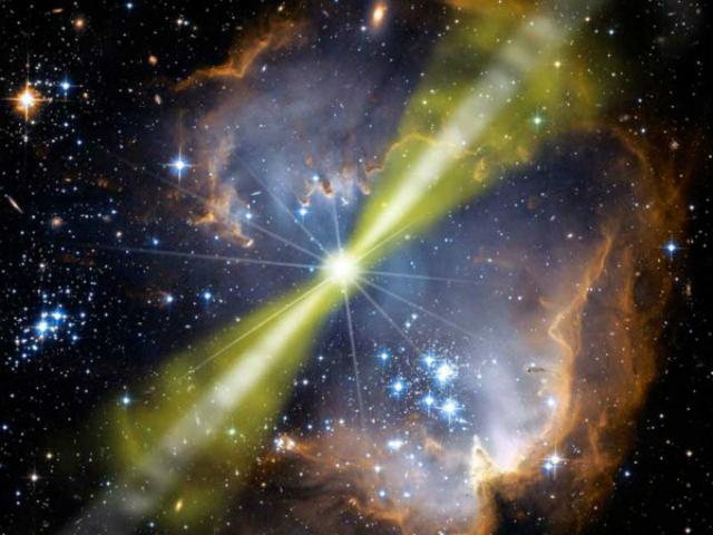 Звёздные взрывы (так называемые гамма-всплески) порождают пучки излучения, которые могут сделать 90% галактик бесплодными (иллюстрация NASA/Swift/Mary Pat Hrybyk-Keith, John Jones).