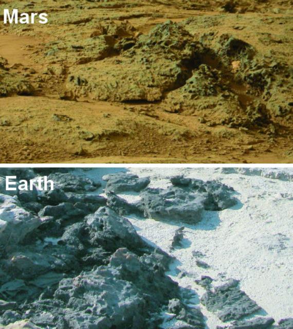 Марсианские структуры по сравнению с аналогичными структурами в Западной Австралии, вызванными микробной эрозией (фото NASA/ Nora Noffke).