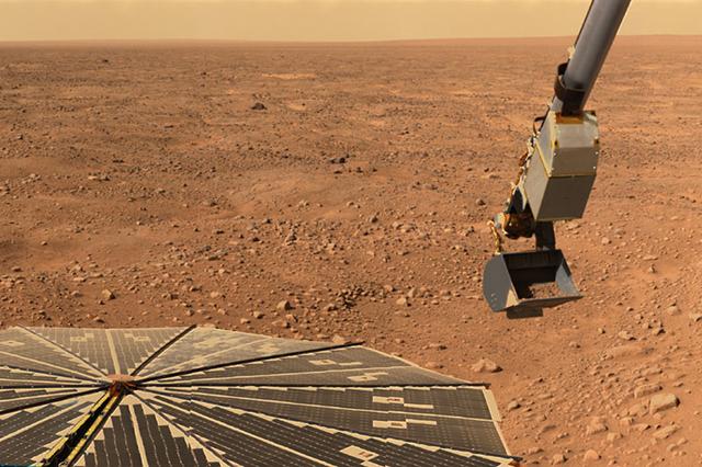Зонд Phoenix Marslander, исследовавший арктические регионы Красной планеты, также обнаружил признаки солёной воды (фото NASA/JPL-Caltech).