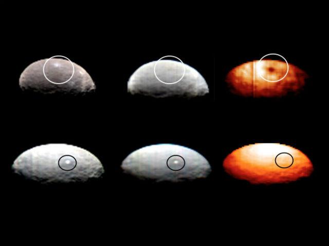 Снимки двух пятен Цереры в видимом и инфракрасном диапазоне. На тепловом изображении видно, что пятно номер один выглядит тёмным из-за более низкой температуры (справа вверху), в то время как пятно номер пять сливается с фоном (справа внизу) (фото NASA / JPL-Caltech / UCLA / ASI / INAF).