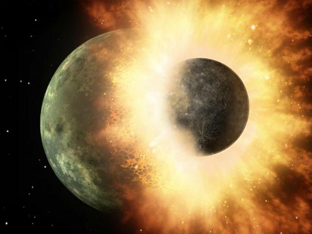 Столкновения Земли с гипотетической планетой Тейя в представлении художника (иллюстрация NASA/JPL).