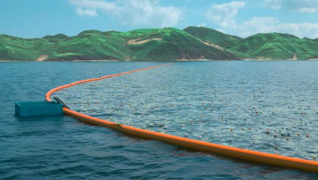 Ocean Cleanup не будет мешать морской жизни, так как преимущественно будет находиться на поверхности воды (иллюстрация The Ocean Cleanup Team).