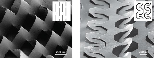 Микромасштабный узор киригами на листе нанокомпозита (фото Kotov et al./Nature Mat. 10.1038/nmat4327).