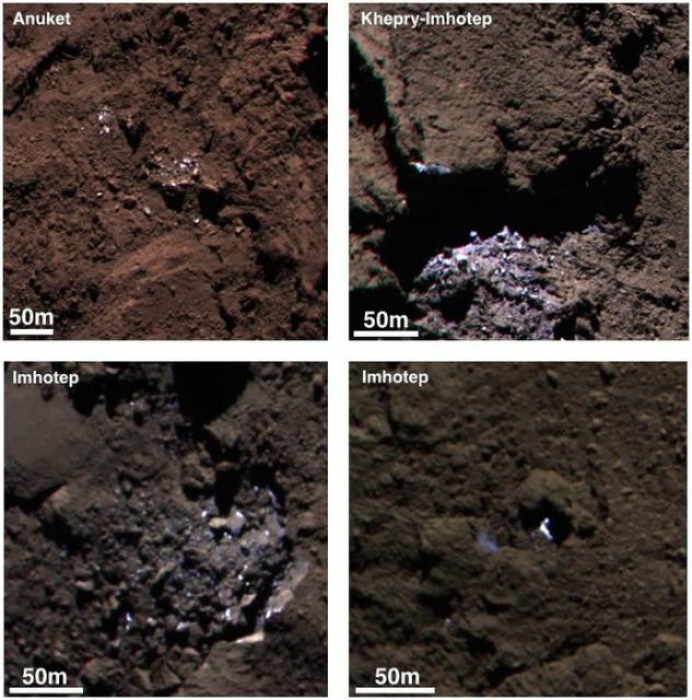 Цветные композиционные снимки из ярких ледяных пятен на комете (фото ESA/Rosetta/MPS for OSIRIS Team MPS/UPD/LAM/IAA/SSO/INTA/UPM/DASP/IDA).