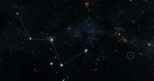 Расположение звезды HD 219134b относительно созвездия Кассиопеи на ночном небе (иллюстрация NASA/JPL-Caltech/DSS).
