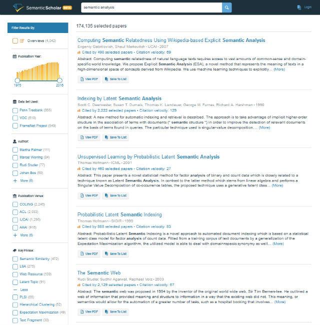 Пример результатов выдачи по ключевой фразе semantic analysis (иллюстрация Вести.Наука/сайт semanticscholar.org).