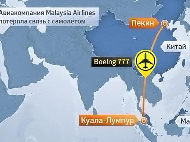 Траектория движения малазийского самолета