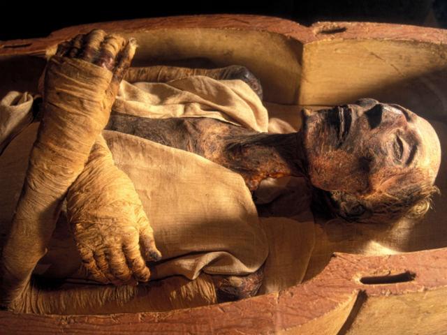 Мумифицировали чаще всего фараонов в династический период. Это мумия Рамзеса II, хранящаяся в Каирском египетском музее (фото SPL).