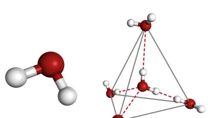 При охлаждении молекулы чистой воды собираются в пирамидки (иллюстрация Greg Stewart/SLAC).