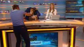 Дмитрий Губерниев получил тортом по лицу